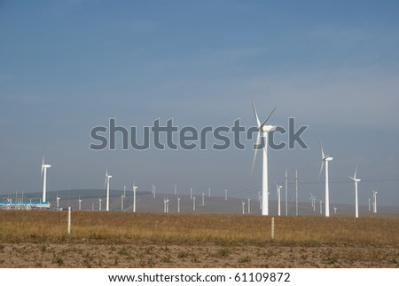 Windmill in Datang Wind Power Factory in china - stock photo