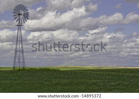 Windmill in eastern Washington - stock photo