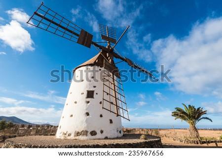 Windmill in El Roque, Fuerteventura (Spain) - stock photo
