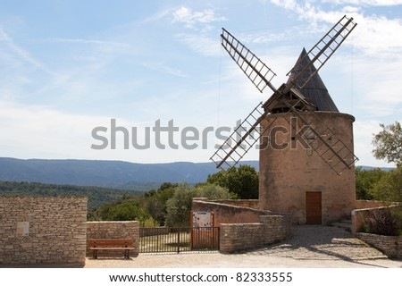 Windmill in Goult, France - stock photo