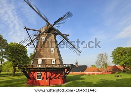 Windmill in Kastellet in Copenhagen. The old military fortress. Denmark - stock photo