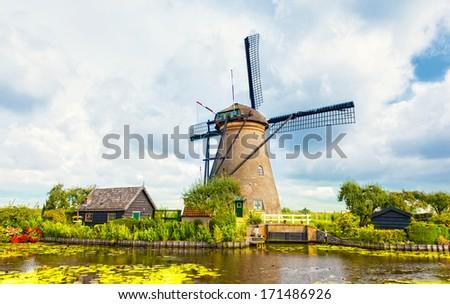 Windmill in Kinderdijk, Holland - stock photo