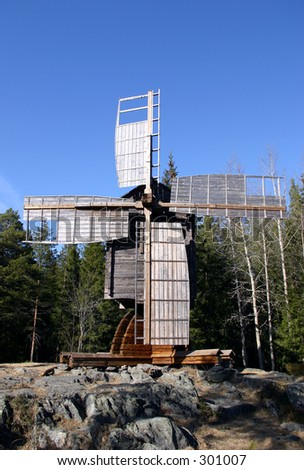 windmill in northern Sweden - stock photo