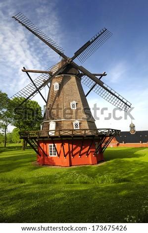 Windmill in old military fortress. Copenhagen - Denmark  - stock photo