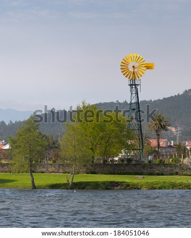 Windmill in Ponte de Lima, Portugal - stock photo