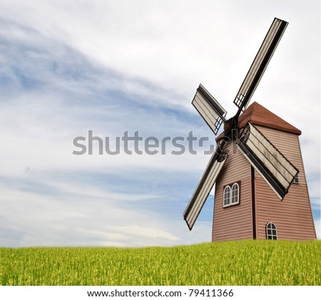 windmill in rice plant - stock photo