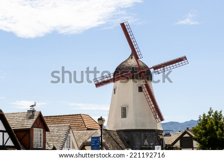 Windmill in Solvang, CA - stock photo