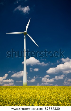 Windmill in the field of yellow rape, blue sky