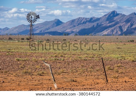 Windmill in the  Flinders Ranges National Park located in outback South Australia