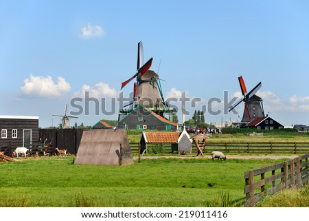 Windmill in Zaanse Schans Amsterdam The Netherland - stock photo
