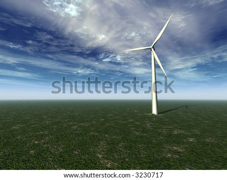 windmill on a green field with cloudy sky - 3d illustration