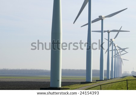 Windmill park in the country side. - stock photo