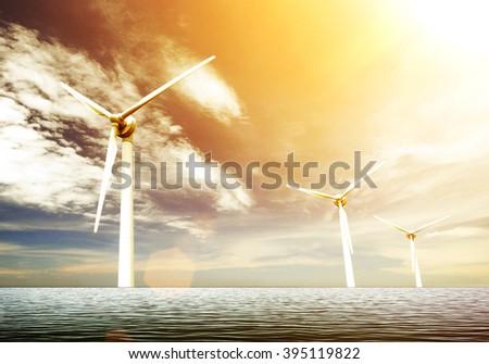 windmill power - stock photo