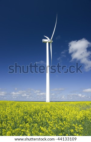 Windmill power generator in a bright yellow rapeseed field under blue sky. - stock photo