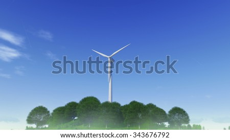 windmill power generator ontop of the hill covered with trees, against deep blue sky. 3D rendering