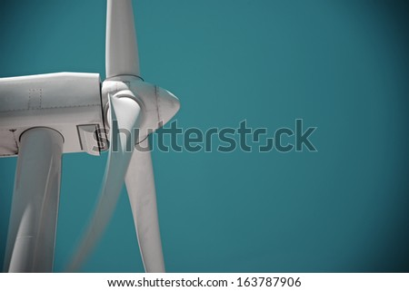 windmill view for electric power production - stock photo