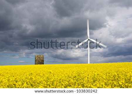 Windmill with motion blur and rapeseed field / Duel green energy from wind power and biofuel - stock photo
