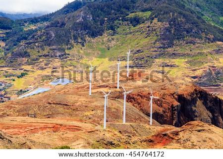 Windmills and landscape of Madeira Island - stock photo