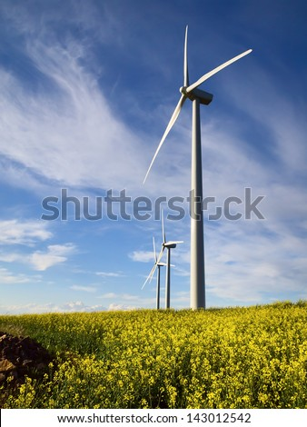 Windmills and yellow flowers - stock photo