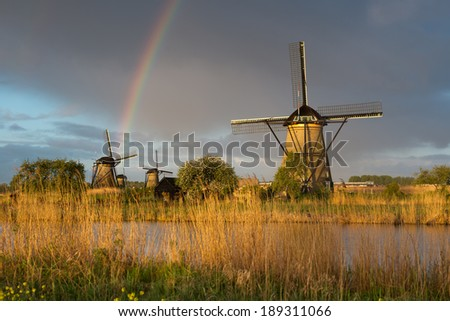 Windmills at Kinderdijk ,Netherlands - stock photo