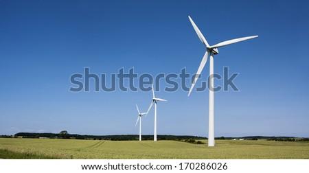 Windmills at Moen (Denmark) - stock photo