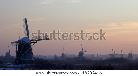 Windmills at sunset, Kinderdijk, Holland