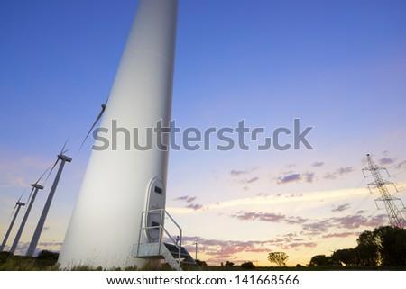 windmills for  electric power production, El Buste, Zaragoza, Aragon, Spain - stock photo