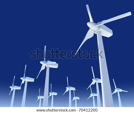windmills for electricity production with blue sky