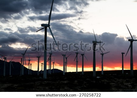 windmills for energy in the San Gorgonio pass in Southern California - stock photo