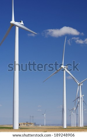 Windmills for renewable electric energy production, Zaragoza, Aragon, Spain