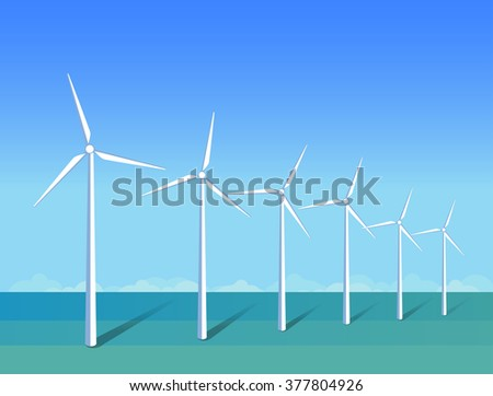 Windmills in a sea on background blue sky. Ecology environmental illustration for presentations, websites, infographics. Flat art