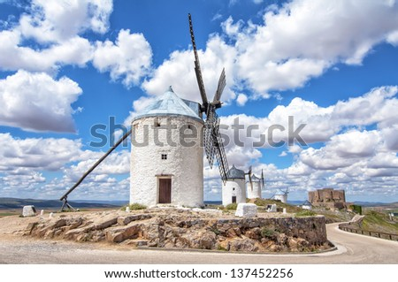 Windmills in Consuegra,Toledo,spain - stock photo