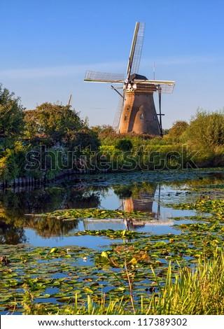 Windmills in Holland, Kinderdijk, Netherlands - stock photo
