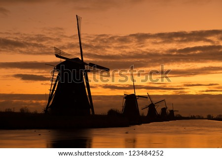Windmills in Kinderdijk, Holland - stock photo