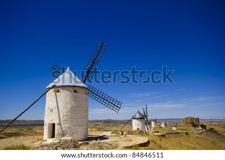 windmills in spain, Consuegra, la mancha - stock photo