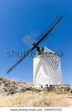 Windmills in Spain, La Mancha, famous Don Quijote location. Clear blue sky