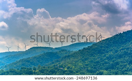 Windmills in the mountains near Keyser, West Virginia. - stock photo