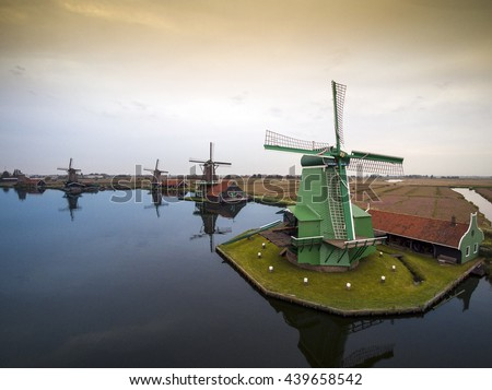Windmills in The Netherlands - symbol of the country.   - stock photo