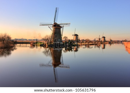 Windmills of Kinderdijk with Reflection, Netherlands - stock photo