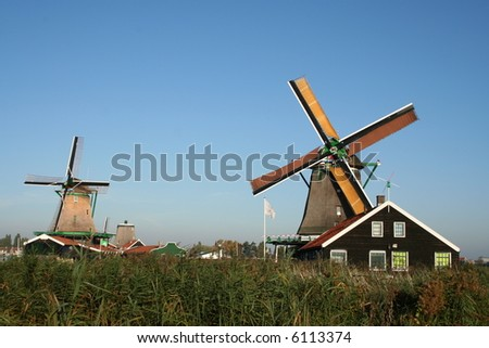 windmills of ZAANSE SCHANS in holland
