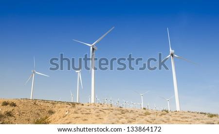 Windmills On a Hill - stock photo