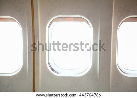 window airplane and empty white window blank isolated on white background