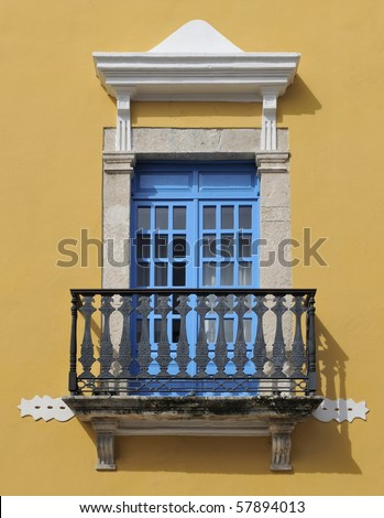 Window and balcony detail from old building in Campeche, Mexico - stock photo