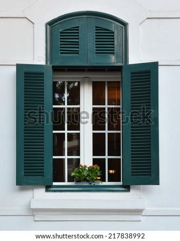 window and flowerbox - stock photo