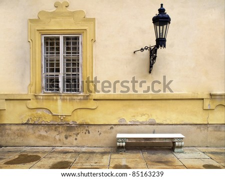 window and old lantern - stock photo
