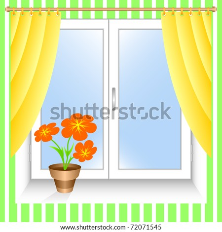 Window and yellow curtains. A flowerpot on a window sill.EPS version is available as ID 69640933. - stock photo
