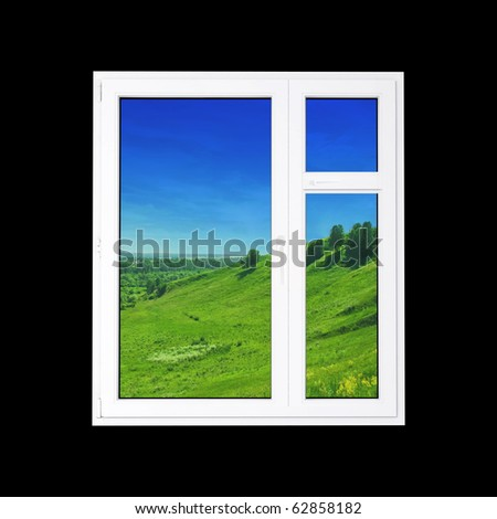 window at black wall and the summer landscape