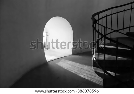 window close to the floor. next to the spiral staircase in the old temple in the city of Chernihiv, Ukraine.