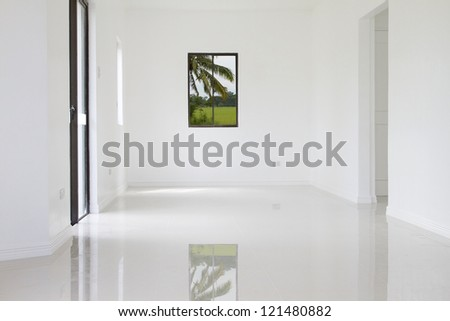 Window close up in a white wall of new house. - stock photo