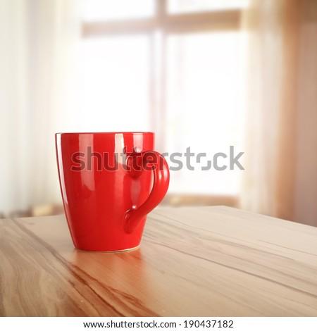 window coffee mug and morning time  - stock photo